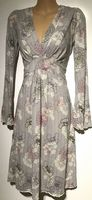 FAT FACE GREY STRIPED FLORAL DRESS SIZE 8